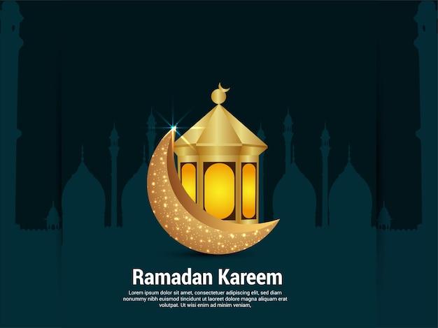 Święto ramadanu kareem z arabską latarnią i księżycem na kreatywnym tle