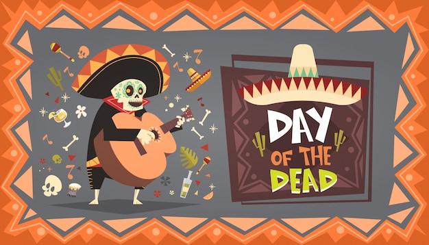 Święto zmarłych tradycyjne meksykańskie halloween dia de los muertos zaproszenie na dekorację świąteczną