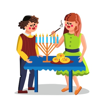 Święto żydowskie chanuka świętuj parę