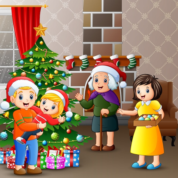 Świętować boże narodzenie z rodziną w domu