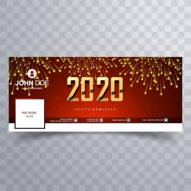 Świętowanie 2020 nowy rok okładka banner tabliczka