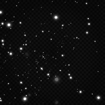 Świętowanie abstrakcyjne tło jasnych i srebrnych błyszczących cząstek kurzu i gwiazd
