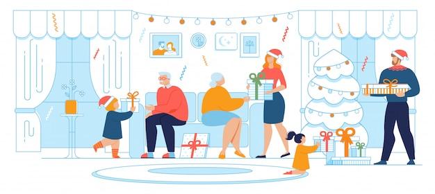 Świętowanie bożego narodzenia rodzinna tradycja płaski wektor