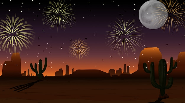 Świętowanie fajerwerki na niebo pustyni scenie