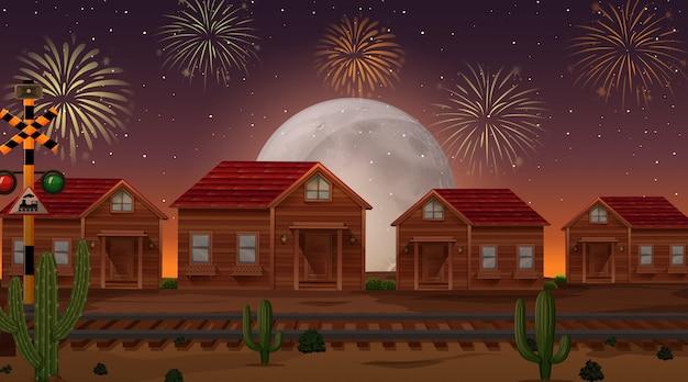 Świętowanie fajerwerki z wsi tłem