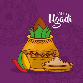 Świętowanie ilustracyjny indyjski ugadi