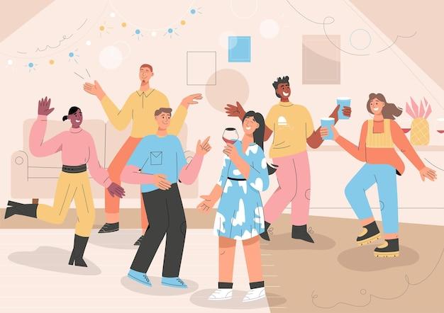 Świętowanie ludzi na imprezie domowej