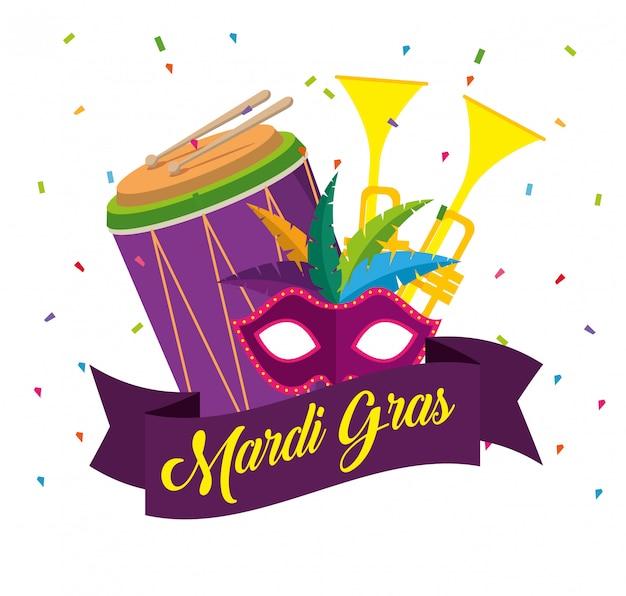 Świętowanie mardi gras z trąbkami i bębenkiem
