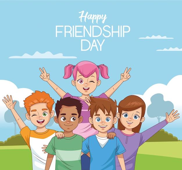 Świętowanie szczęśliwego dnia przyjaźni z grupą dzieci w parku
