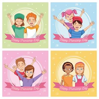 Świętowanie szczęśliwego dnia przyjaźni z grupą dzieci