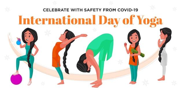 Świętuj bezpiecznie z covid 19 międzynarodowego dnia projektowania banerów jogi