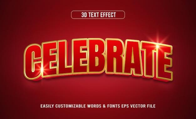 Świętuj czerwony złoty efekt edytowalnego tekstu 3d