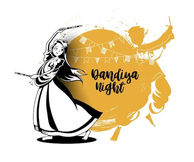 Świętuj festiwal navratri z tańczącym wektorem garba, ręcznie rysowane ilustracji wektorowych.