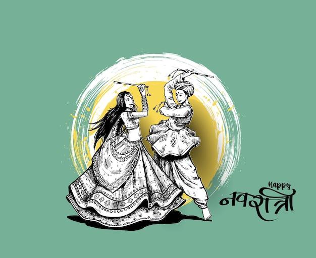 Świętuj festiwal navratri z tańczącymi garba mężczyzn i kobietą wektor, ręcznie rysowane ilustracji wektorowych.