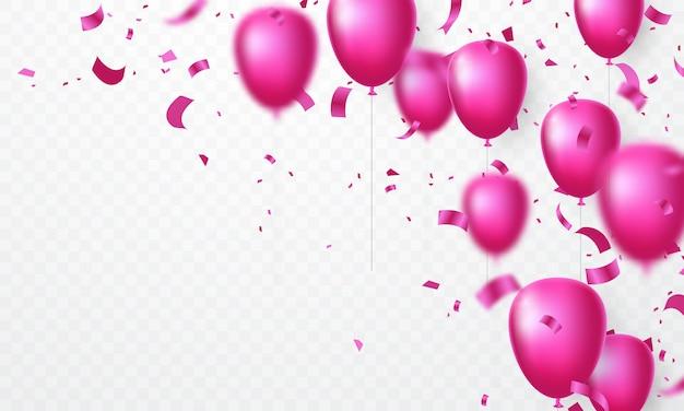 Świętuj projekt różowym balonem z pięknymi konfetti.