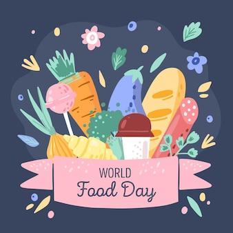 Świętuj światowy dzień żywności w stylu rysowane ręcznie