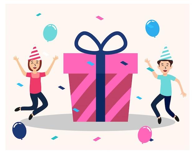 Świętuj urodziny z dużym pudełkiem prezentowym