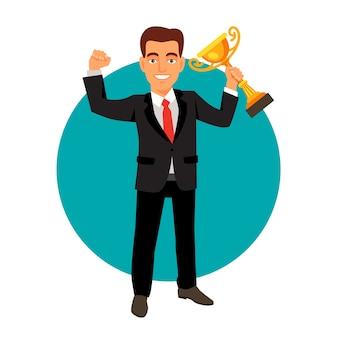 Świętuje biznesmen gospodarstwa zwycięzcę puchar trofeum