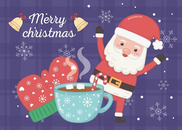 Świętuje mitenki i wesołe kartki świąteczne kubek czekoladowy kubek