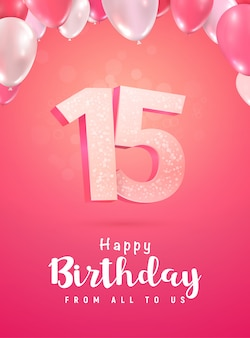 Świętujemy rocznicę, na miękkim czerwonym tle. obchody urodzin piętnastu lat