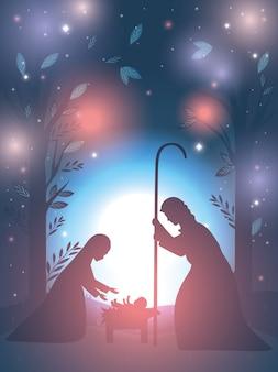 Święty józef i maryja dziewica w szopce
