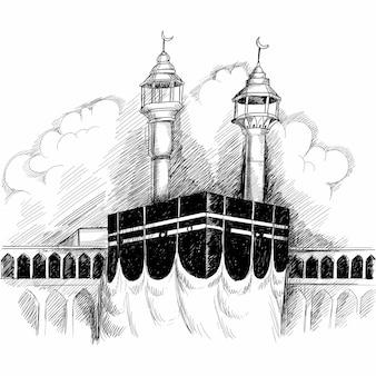 Święty kaaba w mekce arabii saudyjskiej ręcznie rysowane szkic