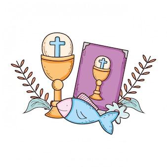 Święty kielich z świętą biblią