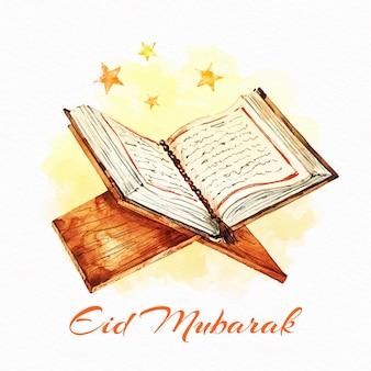 Święty koran akwarela eid mubarak