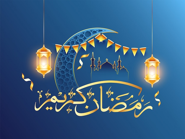 Święty miesiąc ramadan pojęcie z meczetowym i arabskim kaligraficznym złotym tekstem ramadan kareem
