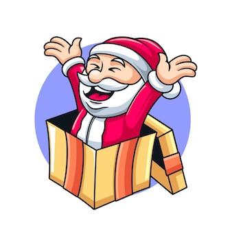 Święty mikołaj boże narodzenie, zabawna ilustracja wektorowa maskotka