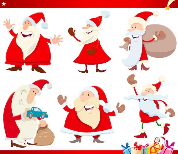 Święty mikołaj boże narodzenie zestaw znaków kreskówek