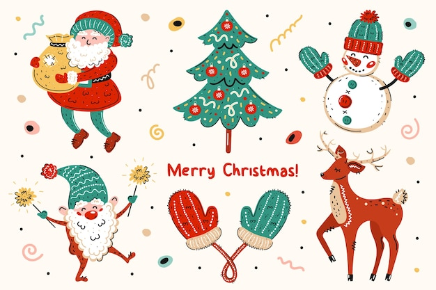 Święty mikołaj, choinka, bałwan, elf, rękawiczki, jeleń. wesołych świąt, nowego roku.