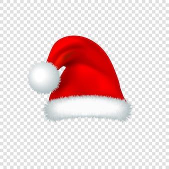 Święty mikołaj czerwony kapelusz na przezroczystym tle