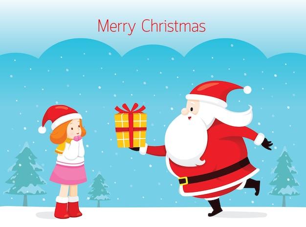 Święty mikołaj daje prezent małej dziewczynce