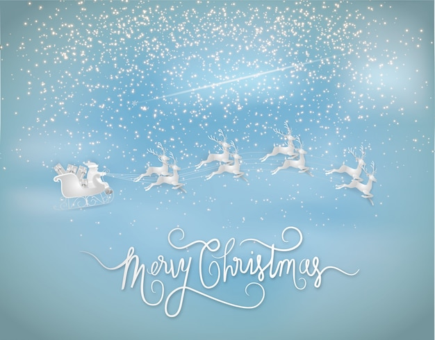 Święty mikołaj daje prezent z reniferami i gwiazdami błyszczy na niebie. styl papierowy.