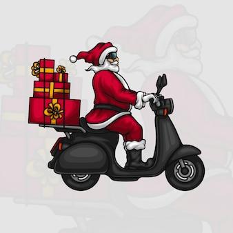 Święty mikołaj dostarcza prezenty na skuterze