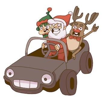 Święty mikołaj, elf i renifer jadący samochodem