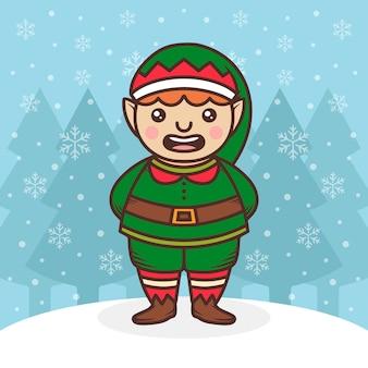 Święty mikołaj elf ładna ilustracja