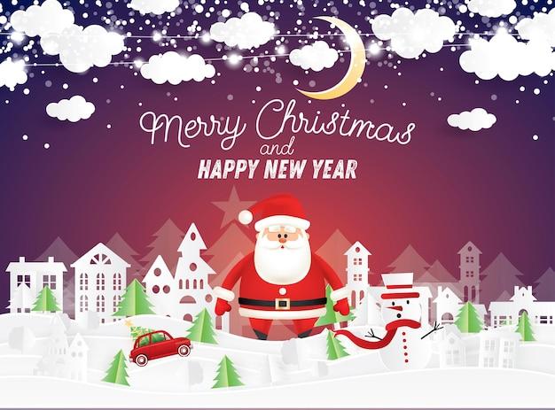 Święty mikołaj i bałwan w świątecznej wiosce w stylu paper cut. red truck carry christmas tree. zimowy krajobraz z księżycem i chmurami.