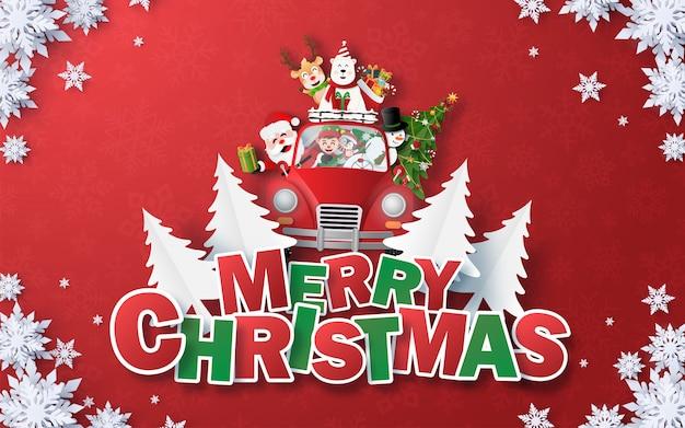 Święty mikołaj i czerwony samochód boże narodzenie z tekstem wesołych świąt