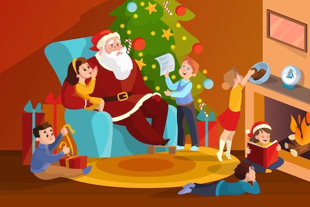 Święty mikołaj i dzieci w pokoju świętują boże narodzenie. dziecko przy drzewie w kostiumie. ilustracja w stylu
