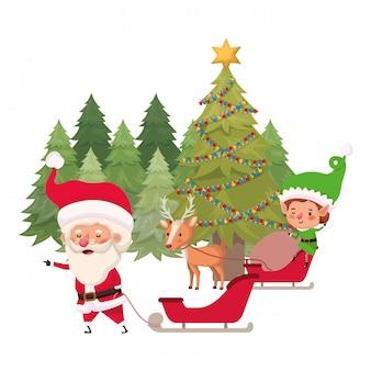 Święty mikołaj i elf z choinką