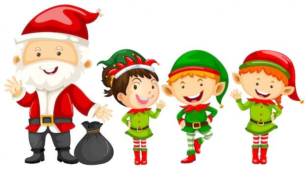 Święty mikołaj i elfy na boże narodzenie