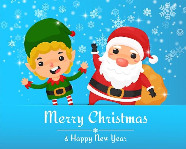 Święty mikołaj i elfy skaczą szczęśliwie rozdając prezenty dla dzieci na boże narodzenie, kartkę z życzeniami