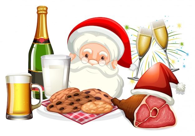 Święty mikołaj i jedzenie na boże narodzenie