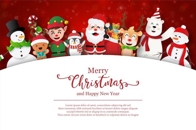 Święty mikołaj i przyjaciele na pocztówce świąteczne