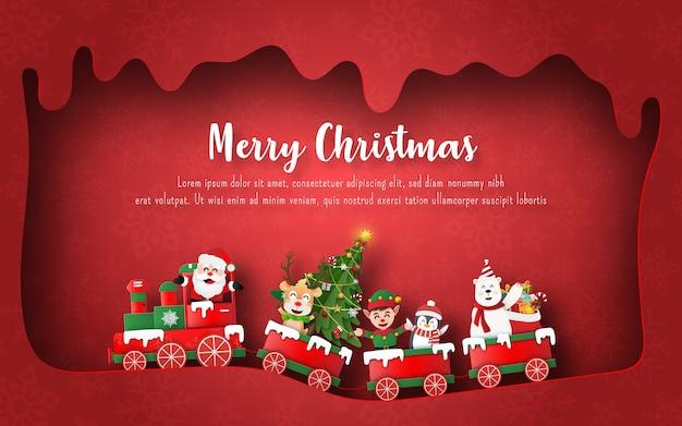 Święty mikołaj i przyjaciele w świątecznym pociągu