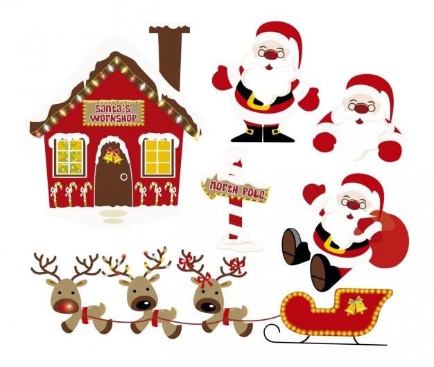Święty Mikołaj I Renifery Darmowych Wektorów