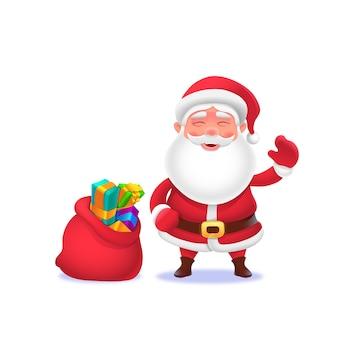 Święty mikołaj i torba prezentowa