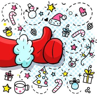 Święty mikołaj jak w stylu pop-art. znak jak w czerwonej rękawiczce. ilustracja wektorowa.